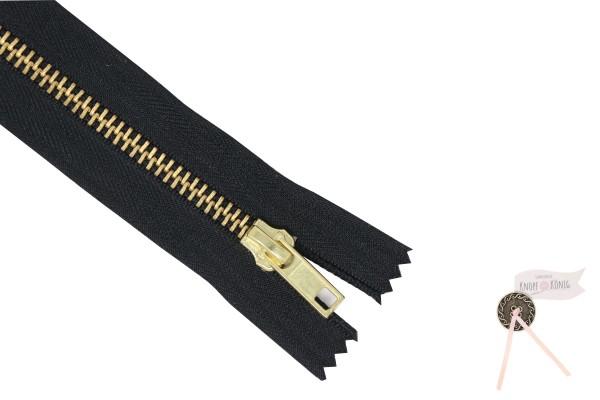 Jeanszipp schwarz, Metallschiene gold 6mm