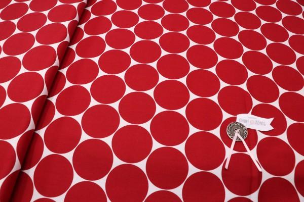 Baumwollstoff mit großen Punkten rot